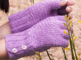 Sophia Button Alpaca Half Finger Gloves