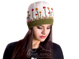 Embroidered Garden Alpaca Hat - Fleece Lining