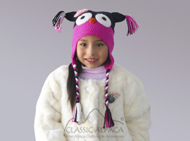 Alpaca Kids - Sweet Owl Hat with Ear Flaps