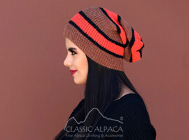 Striped Alpaca Beanie Hat