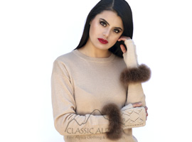Presley Alpaca Fingerless Gloves with Fur