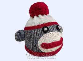 Sock Monkey Alpaca Hat