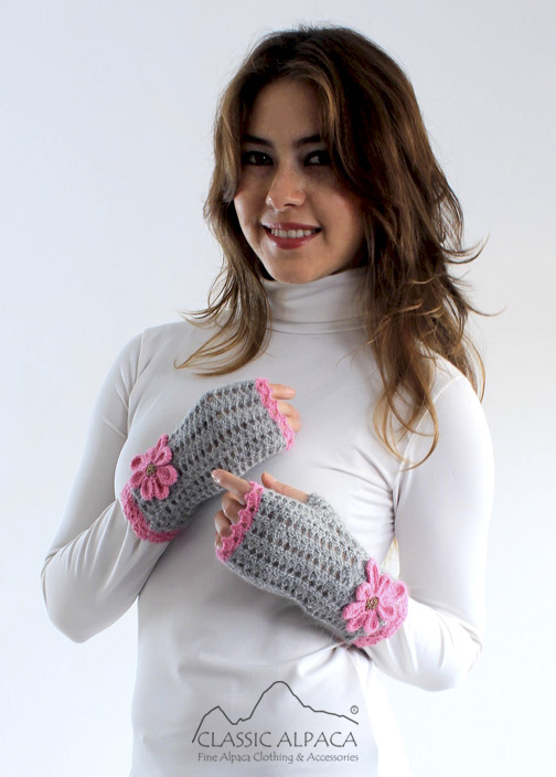 Rossmery Crocheted Alpaca Fingerless Gloves
