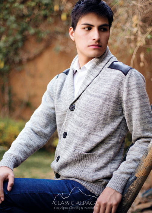 Classic Alpaca Men's Cardigan with Leather