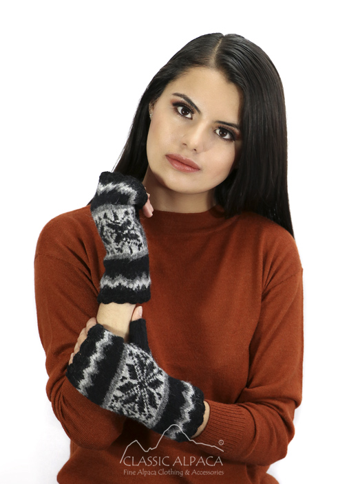 Nordic Brushed Alpaca Fingerless Gloves