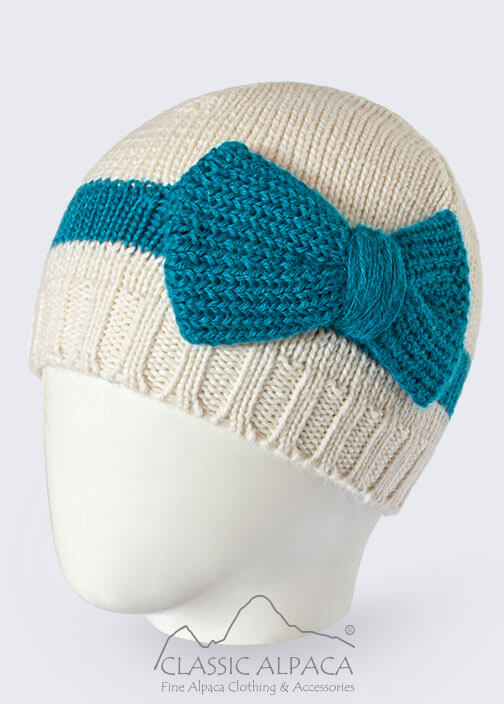 Knitted Alpaca Hat with Classic Bow
