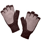 Alpaca Half Finger Double Layer Driving Gloves in Brown Mlge.-Beige