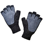 Alpaca Half Finger Double Layer Driving Gloves in Charcoal-Grey