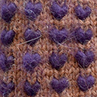 Alpaca Thrummed Mittens in Amber Mlge.-Purple