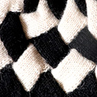 Patchwork Knit Alpaca Hat in Black.-Natural