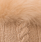 Diamond Cable Alpaca Gloves With Fur in Beige-FurBeige