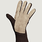 Alpaca Double Layer Driving Gloves in Brown-Beige