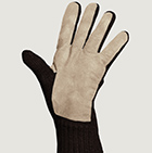 Alpaca Double Layer Driving Gloves in Brown Mlge.-Beige